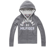 Signature-Hoody mit Label-Applikation graumeliert