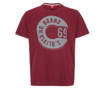 T-Shirt mit Label-Frontprint bordeaux