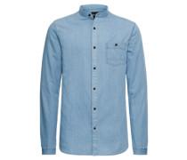 Hemd 'try LS Longline Denim China Shirt'