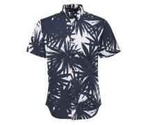 Bedrucktes Kurzarmhemd marine / weiß