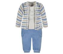 Jacke + T-Shirt + Jogginghose Jungen Baby beige / blau / grau