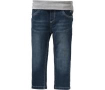 Stretch-Jeans mit Rippbund blue denim