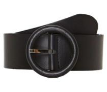 Gürtel mit runder Lederschließe schwarz