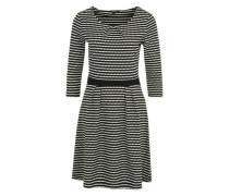 Kleid mit Wabenmuster und Dreiviertelärmeln schwarz