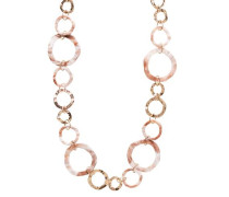 Lange Ringkette in Hornoptik und aus Metall goldgelb / rosé