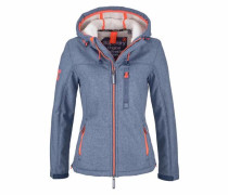 Winterjacke 'hooded Sherpa Windtrekker' rauchblau / orange