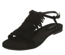 Sandalette mit Fransenbesatz schwarz