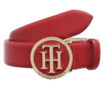 Ledergürtel mit Logo-Schnalle rot