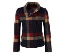 Kurze Jacke aus Woll-Mix blau / rot