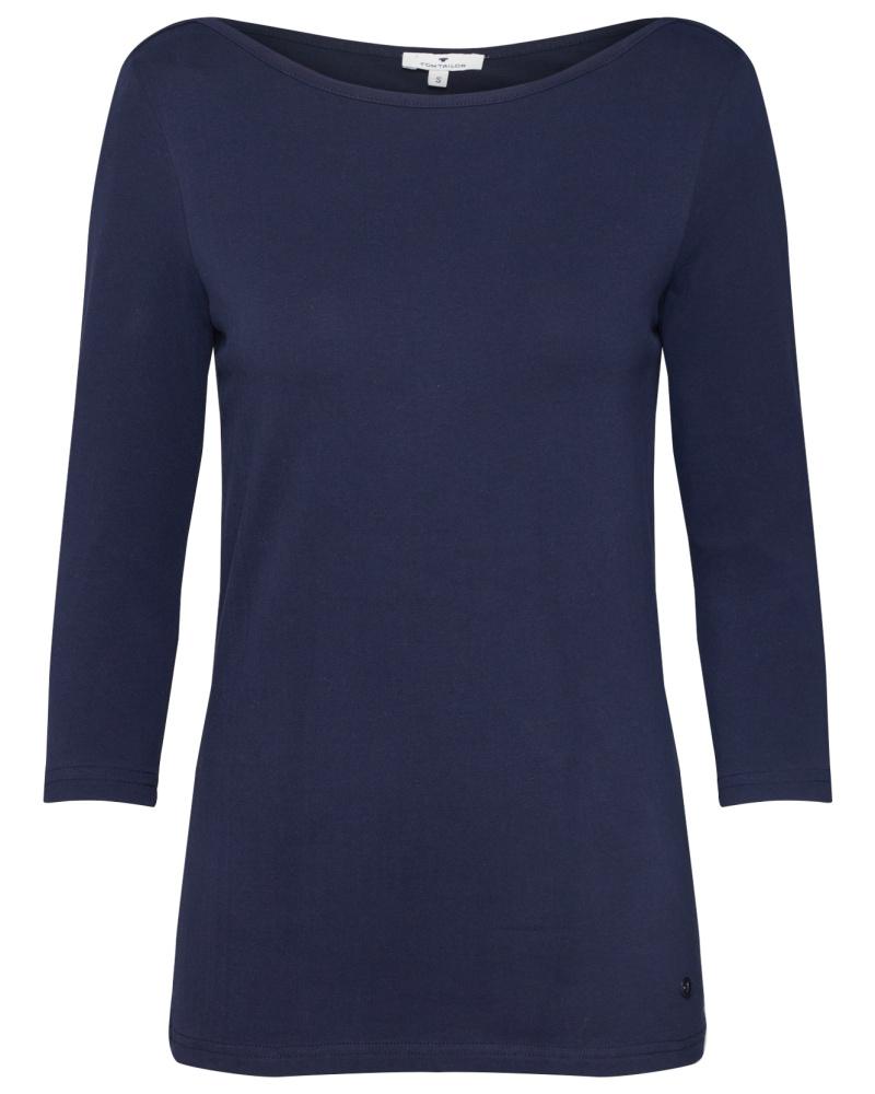tom tailor damen shirt 39 boat neck 39 dunkelblau bei. Black Bedroom Furniture Sets. Home Design Ideas