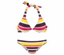 Bügel-Bikini dunkelbraun / gelb / pink / rosa / weiß