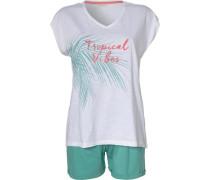 Schlafanzug 'Elena Cas' mint / weiß