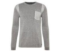 Pullover 'plated sweater with pocket' grau / offwhite