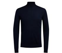 Superfeiner Merinowoll-Strickpullover blau