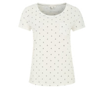 T-Shirt mit All-Over-Print weiß