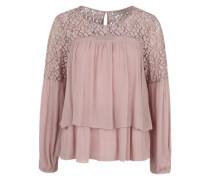 Bluse mit Spitzeneinsatz 'Ansa' pink