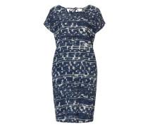 Kleid blau-weiß mit allover Print blau / naturweiß
