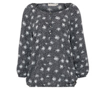 Bluse mit All-Over-Print navy / offwhite
