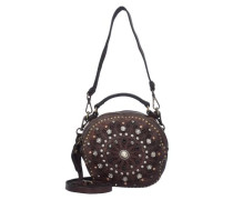 Bauletto Mini Bag Umhängetasche Leder 18 cm braun / dunkelbraun