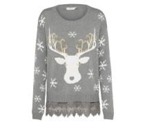 Pullover 'Christmas' graumeliert / weiß