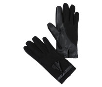 Handschuhe mit Leder-Look-Details schwarz