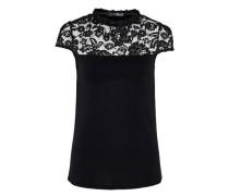 A-Linien-Shirt mit Spitzenpasse schwarz