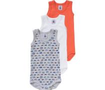 Bodys 3er-Pack für Jungen graumeliert / orange / weiß
