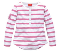 Langarmshirt mit Streifen und Knopfleiste für Mädchen pink / rosa