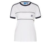 Shirt mit Satin-Einsatz weiß / schwarz