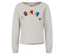 Sweatshirt mit Frottee-Logo grau / mischfarben