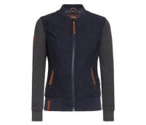 Jacket 'Gib Ma Deine Numma' navy / blaumeliert / braun