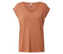 T-Shirt 'Billo' braun / silber