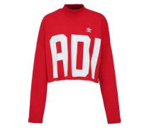 Sweatshirt 'crop' rot / weiß