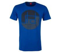 T-Shirt mit Print und Wording blau / dunkelgrau