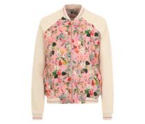 College-Jacke mit Blumenprint creme / mischfarben / pink