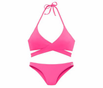 Triangel-Bikini in Wickeloptik pink