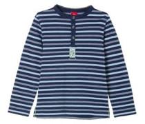Henleyshirt mit Streifenstruktur blau