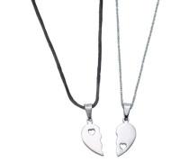 Schmuckset (2 Halsketten mit Anhänger) schwarz / silber