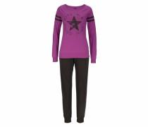 Langer Pyjama im Sports-Look lila / schwarz