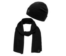 Geschenk-Set Schal und Beanie schwarz
