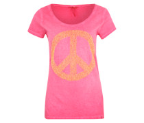 T-Shirt mit Paillettenbesatz orange / pink