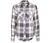 Bluse 'check Blouse True' lila / weiß