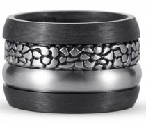 Ring-Set (Set 4 tlg.) grau / schwarz