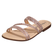 Sandale mit Glitzersteinen gold / rosé