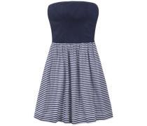 Kleid 'thdw Basic Strapless Dress 50' dunkelblau / weiß