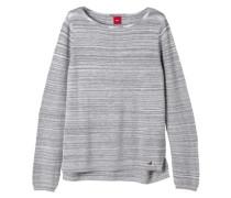Melierter Feinstrick-Pullover grau