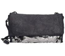 Umhängetasche Leder 24 cm schwarz / silber