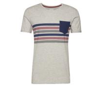 T-Shirt blau / hellgrau / rot