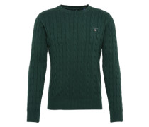 Pullover mit Zopfmuster dunkelgrün