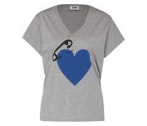 T-Shirt 'Mc-Coeur Epingle' blau / grau